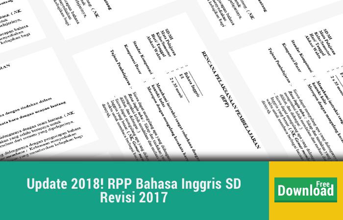 Update 2018 RPP Bahasa Inggris SD Kurikulum 2013