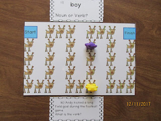 Nouns and Verbs Task Cards