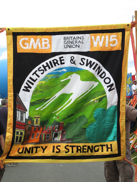 General and Municipal Workers Union Banner - Swindon - Showing one of the chalk horses of Wiltshire - I think Westbury