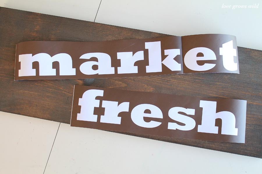 diy market fresh rustic wood kitchen sign - love grows wild