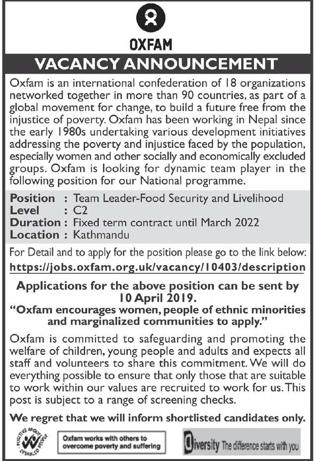 Team Leader Job Vacancy at OXFAM