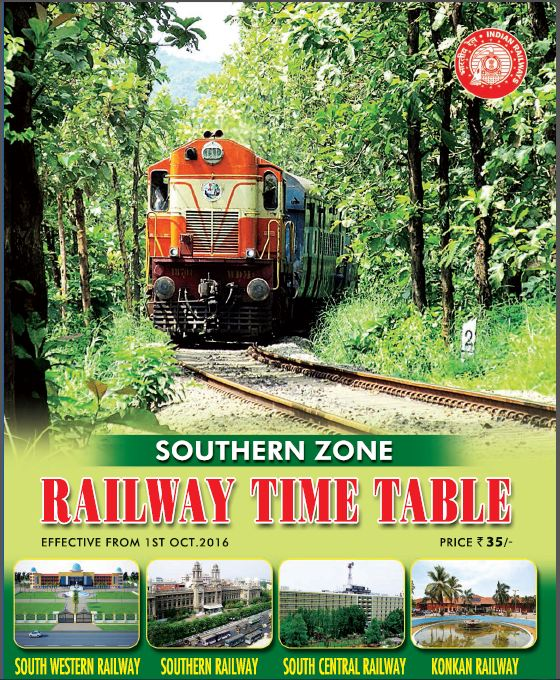 Southern Zone Railway Time Table 2016-17 - India Railway Info - Indian ...