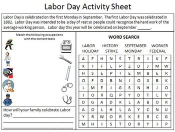 image relating to Labor Day Word Search Printable named Spending budget Pleasant Homeschooling: Labor Working day Match Sheet