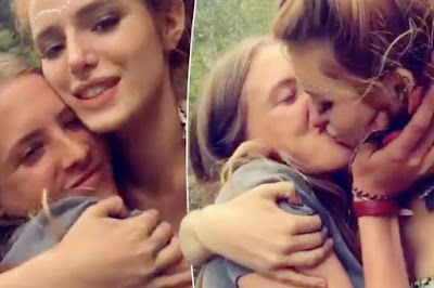 Bella previously shared this Snapchat video of her locking lips with her friend
