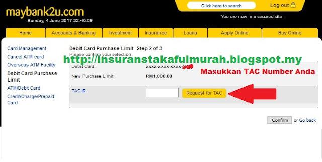 Cara Tukar Limit Debit Card Maybank AIA Public Takaful