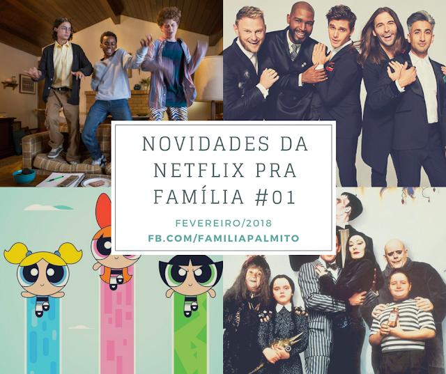 Imagem com mosaico de novidades do catálogo Netflix para fevereiro de 2018.