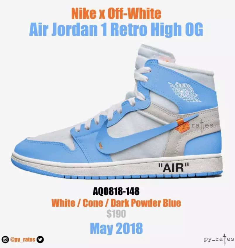 a3708ffde19562 ... the Off-White x Air Jordan 1 Retro High  UNC  Sneaker that should be hitting  retailers in May according to him. Stay tuned here on the blog for more ...