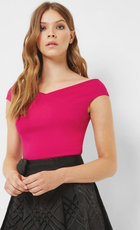 An ideal partner for a gingham or ruffled skirt: bright pink cropped Bardot top from Ted Baker