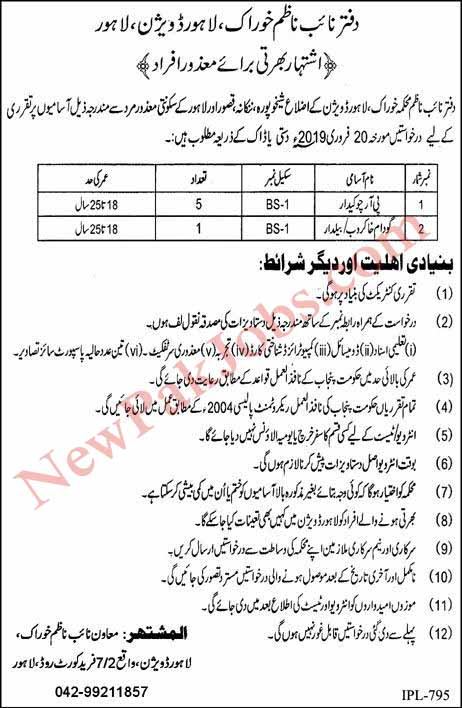Disable Person Jobs in Nankana Sahib, Sheikhupura, Kasur 2019