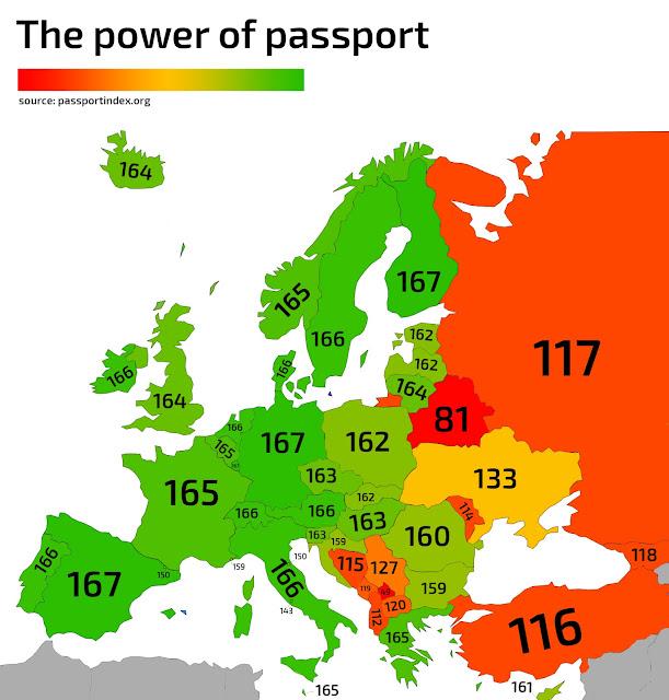 Карта Європи з зазначенням кількості країн, доступних для відвідування громадянам відповідних держав без візи.