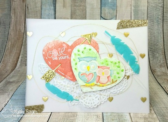 Owl be Yours Card by Nakaba Rager | Woodland Duos stamp set by Newton's Nook Designs #newtonsnook