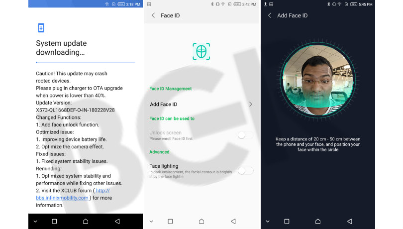 Infinix Mobile Adds Face Unlock To Hot S3 in new OTA update