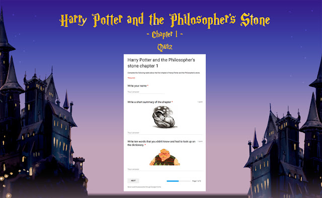 Harry Potter and the Philosopher's stone quiz task 1.