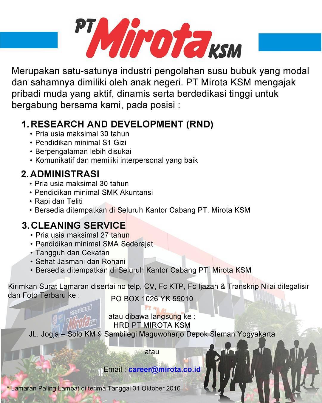 Lowongan Kerja Pt Mirota Ksm Yogyakarta Oktober 2016 Kerja Id Lowongan Kerja Indonesia