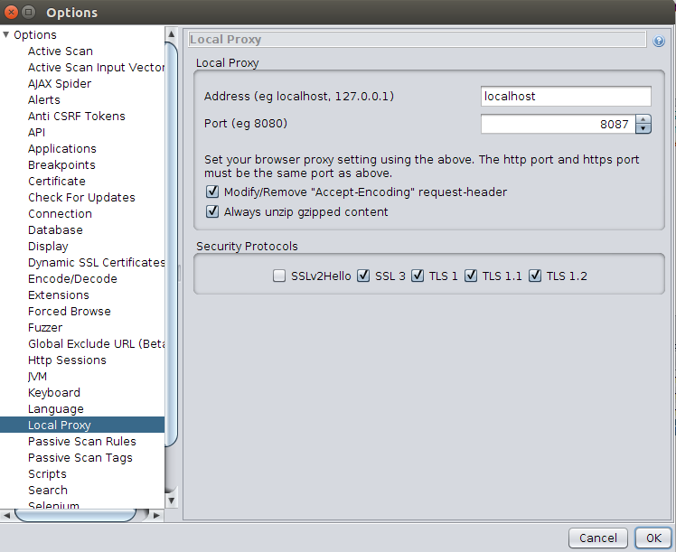 Use ZAP tool to intercept HTTP Traffic