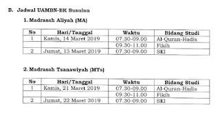 Jadwal UAMBN 2019 MTs MA