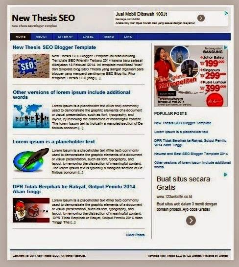 Template Blog Keren Terbaru 2015 Terpopuler & Paling SEO