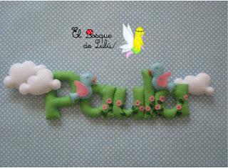 Nombre-fieltro-Paula-elbosquedelulu-hechoamanoparati-decoración-infantil-regalo-nacimiento-bebe-felt-feltro-name-banner-babyroom