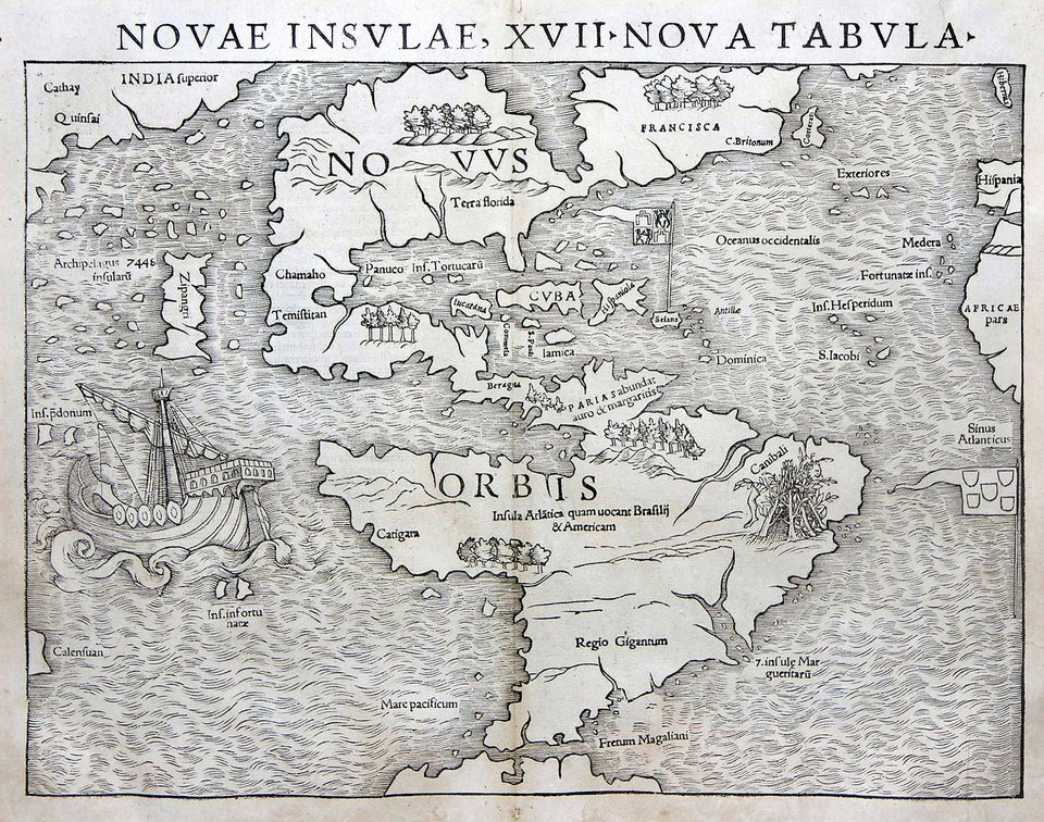 Antique prints blog sebastian munster new world as i mentioned above munster was the first to include separate maps of all the known continents such as this map of the americas gumiabroncs Gallery