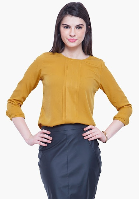 PLEAT PLEASE BLOUSE - MUSTARD INR- 1100