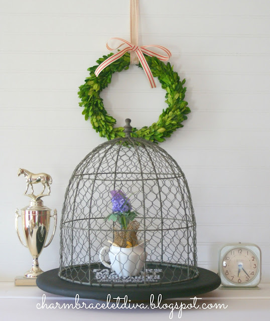 diy painted stenciled farmhouse wire cloche lazy susan
