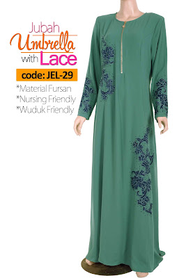 Jubah Umbrella Lace JEL-29 Sea Green Depan 3