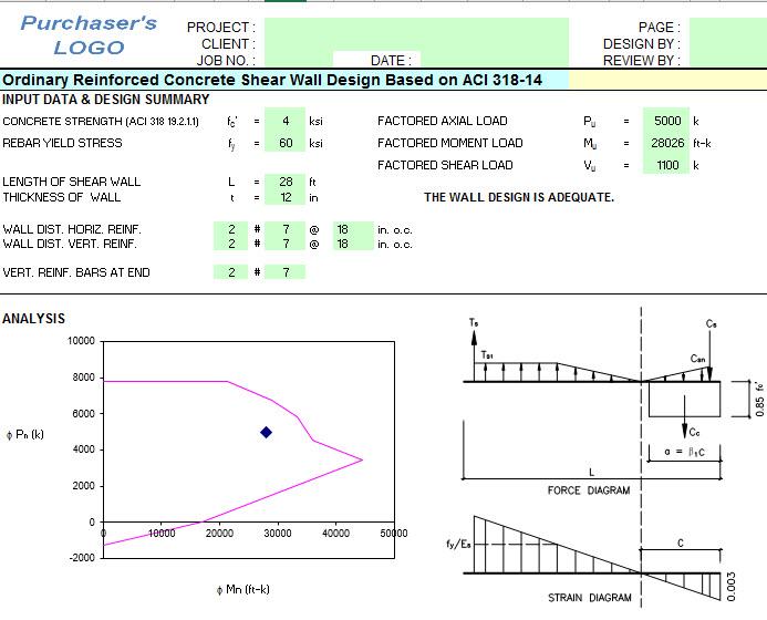 Shear Wall Design Xls : Shear wall design and analysis excel sheet