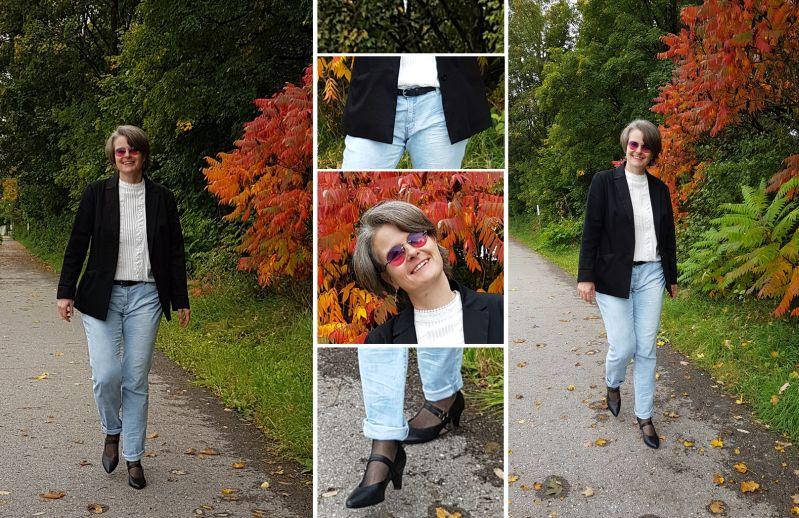 Boyfriend-Blazer und Jeans mit Netzstrümpfen und spitzen Pumps kombiniert