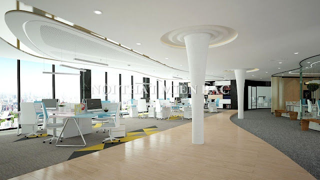 Thiết kế nội thất văn phòng hiện đại phong cách mở