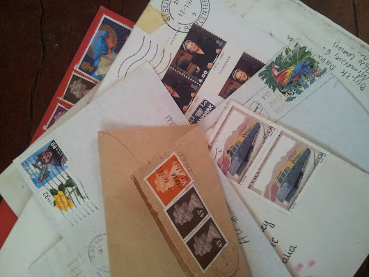 Salvaging postage stamps.