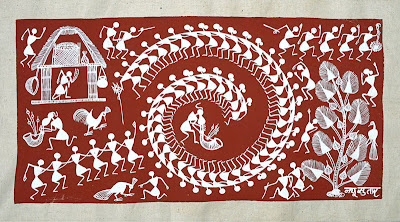 Warli Painting Red Mud