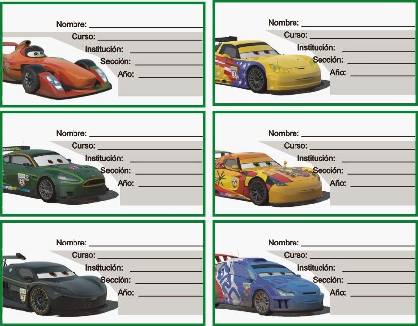 ETIQUETAS PARA CUADERNOS: Cars Carros De Competencia Para