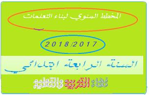 المخطط السنوي لبناء التعلمات السنة الرابعة ابتدائي