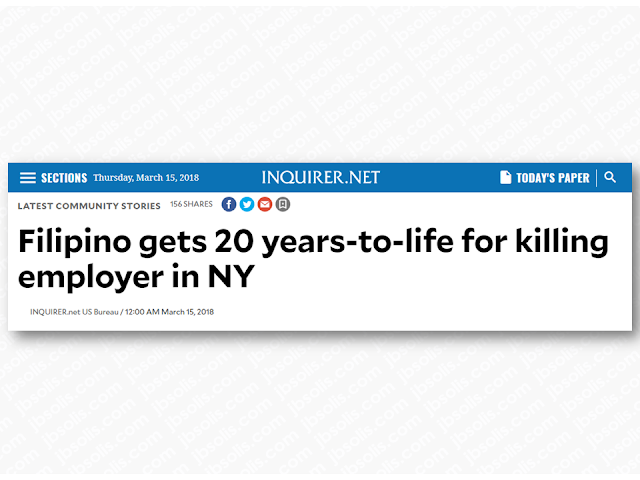 "Miguel Abarentos, a 30-year-old Filipino, was sentenced to 20 years-to-life in prison for the murder of his elderly employer inside the victim's Murray Hill apartment on 2012. Abarentos pleaded guilty to second-degree murder before New York State Supreme Court on December 19, 2017.    Advertisement     HICS AND PARAGRAPH HERE}   Sponsored Links       ""In this shocking crime, Miguel Abarentos wrought havoc in the home of his elderly employer, beating the man with such deadly force that even one of the murder weapons — a ceramic lamp — was shattered by the impact of his blows,"" said District Attorney Vance.     ""That he fled to the Philippines the following day to avoid detection only underscores the cowardice of this murder of an 87-year-old man. Had it not been for the dedicated prosecutors on the case who achieved his extradition and secured his plea, this defendant may have never faced justice,"" Vance added.    According to court documents and the defendant's guilty plea, Abarentos was employed by the victim, 87-year-old Thawerdas Sadhwani, beginning in October 2012. Abarentos was initially hired to work for Mr. Sadhwani's business, but occasionally assisted him on the weekends with errands and household tasks.    On December 15, 2012, Abarentos entered the victim's apartment on East 36th Street and beat him to death with a metal chair and ceramic lamp. He struck Sadhwani with such force that the lamp shattered, and the impact of further assault with other objects crushed his neck and broke his nose.    Later that day, Abarentos went to an internet café in Queens. While inside the café, he sent a Facebook message to a friend stating that he had just killed someone and needed to go home. The next day, Abarentos boarded a flight to the Philippines at John F. Kennedy International Airport. On the following morning, the victim's housekeeper was unable to enter the apartment and called building staff, who unlocked the door and discovered Sadhwani's body.    On June 20, 2016, Abarentos was arrested in Makati, Philippines, and extradited to the United States.    Assistant D.A. Maxine Rosenthal, Senior Trial Counsel, handled the prosecution of the case, under the supervision of Assistant D.A. Lanita Hobbs, Chief of Trial Bureau 80, and Executive Assistant D.A. John Irwin, Chief of the Trial Division.    District Attorney Vance thanked the U.S. Department of Justice, specifically Attaché Donald D. Ashley, and members of the NYPD, including Detective Annamarie Bernagozzi of the Detective Bureau Central Investigation Division, and Detective Jose Flores of the Manhattan South Homicide Squad        Read More:  5 Signs A Person Is Going To Be Poor And 5 Signs You Are Going To Be RichTips On How To Handle Money For OFWs And Their Families How Much Can Filipinos Earn 1-10 Years After Finishing College?   Former Executive Secretary Worked As a Domestic Worker In Hong Kong Due To Inadequate Salary In PH    Beware Of  Fake Online Registration System Which Collects $10 From OFWs— POEA      Is It True, Duterte Might Expand Overseas Workers Deployment Ban To Countries With Many Cases of Abuse?  Do You Agree With The Proposed Filipino Deployment Ban To Abusive Host Countries?    ©2018 THOUGHTSKOTO  www.jbsolis.com"