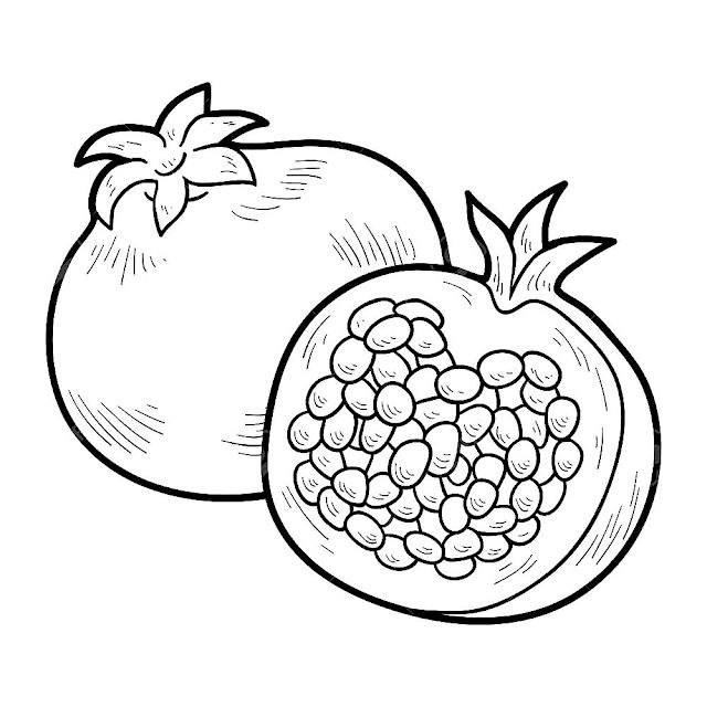 Gambar mewarnai buah delima