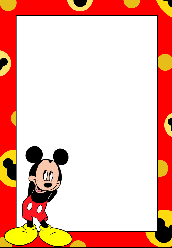 Marcos Invitaciones Tarjetas O Etiquetas De Mickey Mouse