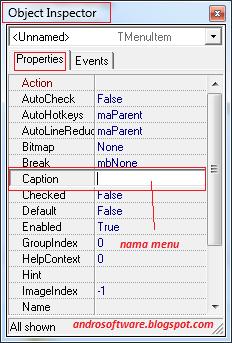 gambar object inspector membuat menu delphi 7