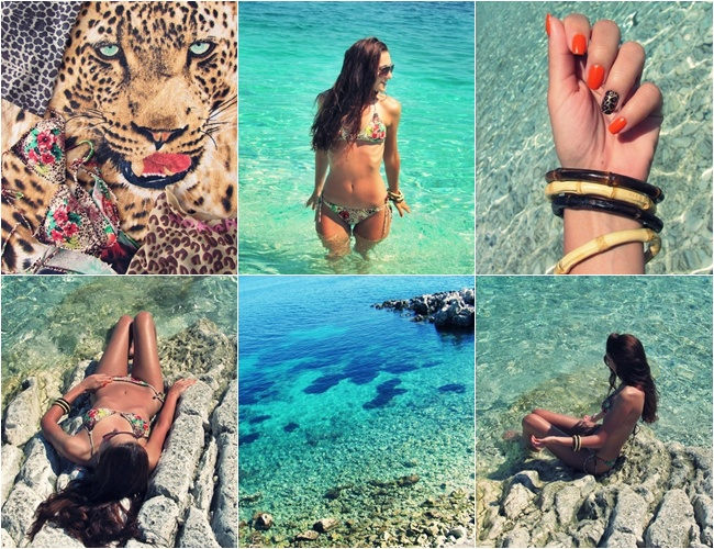 leopard print bikini for vacation in Greece Corfu island