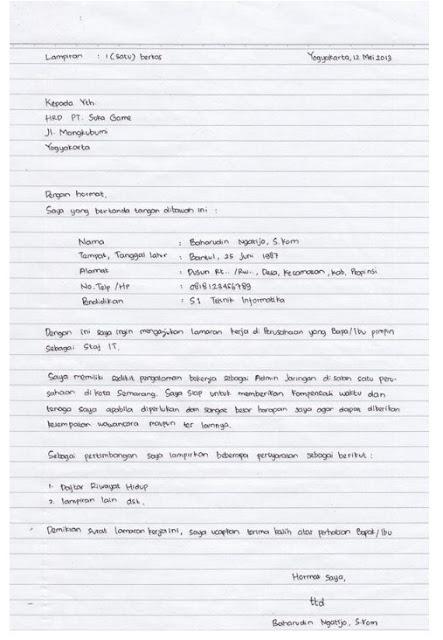 Contoh Surat Lamaran Kerja Cv Tulis Tangan Download Contoh Lengkap Gratis