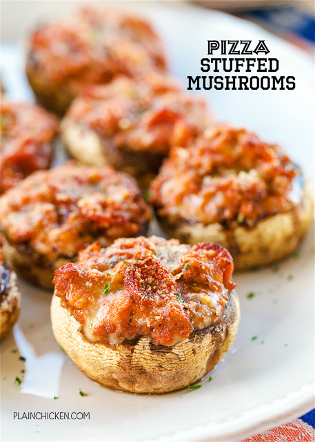 Pizza Stuffed Mushrooms -SO GOOD! Mushroom caps stuffed with sausage, pepperoni, pizza sauce, basil, garlic, mozzarella and parmesan. Feel free to add your favorite toppings. Ready to eat in 15 minutes. Great for parties, tailgating or a low-carb lunch or dinner!!