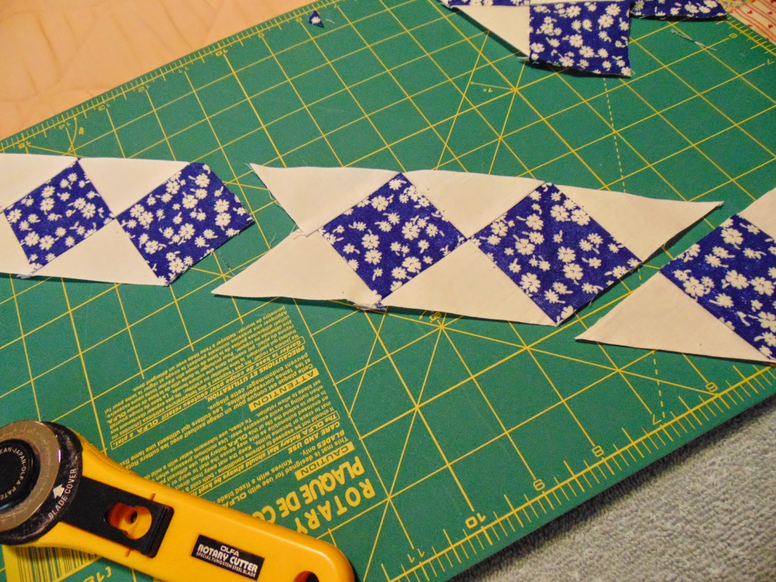 Stitch the diagonal strips together to make long strip of Seminole patchwork