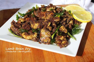 aadinte thalachor ularthiyathu goat recipes goat brain pepper fry