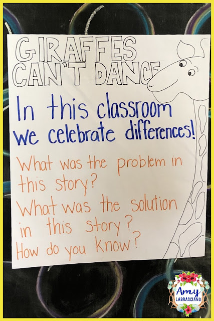 Click here to find ideas for teaching about differences in the classroom as well as problem and solution.  Included are ideas and  an anchor chart for the very engaging book Giraffes Can't Dance.  Get your back to school plans ready.   Perfect for elementary classrooms and homeschool children.  {kindergarten, first, second, third, fourth, fifth,  k, 1st, 2nd, 3rd, 4th, 5th}