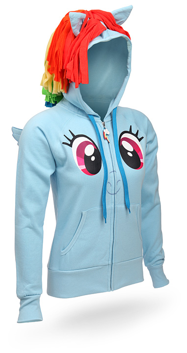 8b8254345 Looks like ThinkGeek has released some pony apparel for you guys to buy up!  Even though the Rainbow Dash hoodie can be found on WeLoveFine, it's nice  to see ...