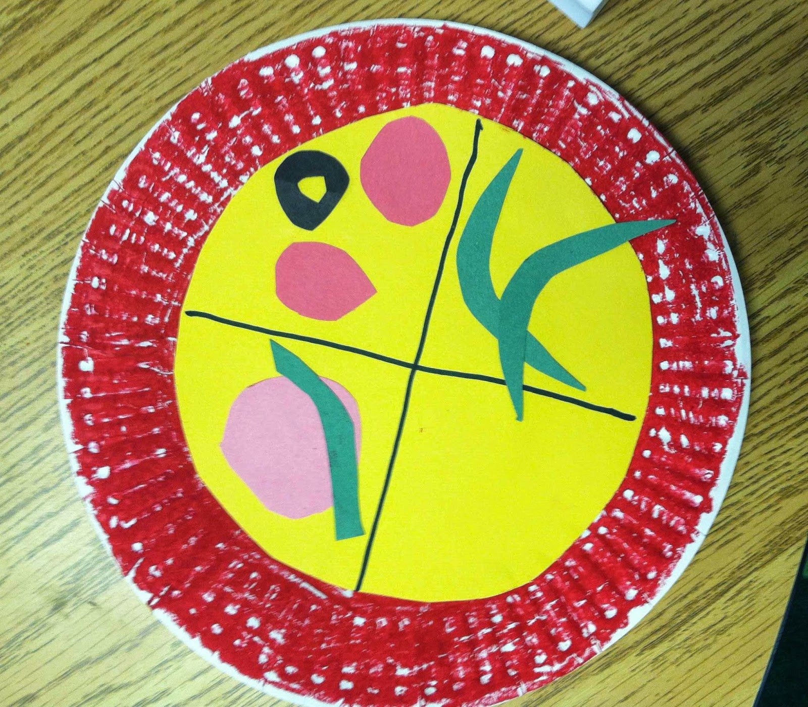 I had them color a paper plate with a red crayon (we used oil pastels for brightness). Next they used construction paper to make their cheese and toppings.  sc 1 st  The Teacher Bag & Pizza Fractions (Freebie) - The Teacher Bag