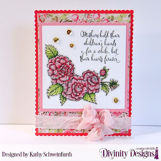 Divinity Designs Stamp Set: Daughter's Best Friend, Custom Dies: Scalloped Squares, Squares, Scalloped Rectangles, Paper Collection: Pretty Pink Peonies