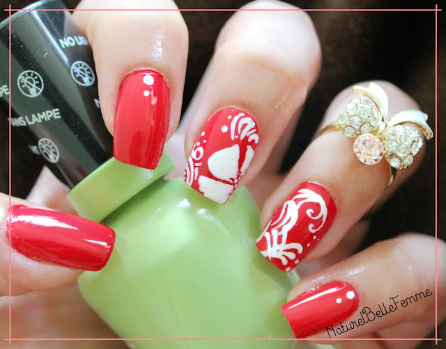 Red and white floral manicure