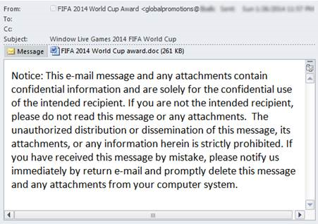 Nigerian FIFA World Cup scam email