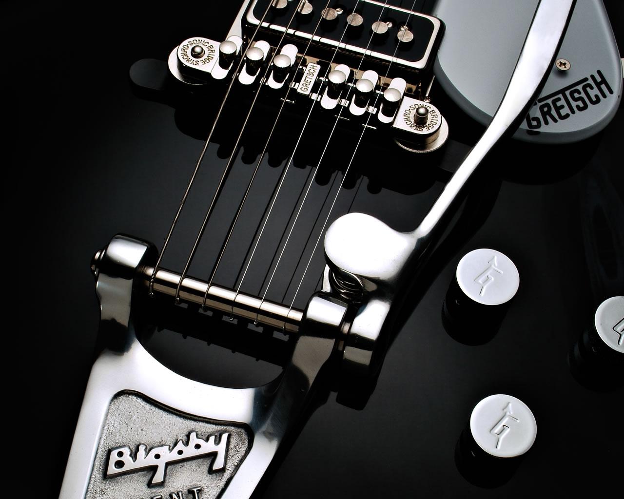 Desktop Wallpaper: Bigsby Gretsch Black Guitar Desktop
