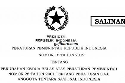 PP 16 2019, Daftar Tabel Gaji TNI 2019 Setelah Kenaikan Resmi Terbaru